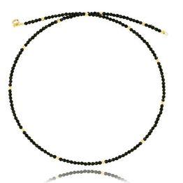 Κολιέ με χάντρες και στοιχεία από χρυσό 9 καρατίων