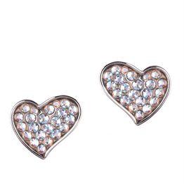 Σκουλαρίκια καρδιές από ασήμι με πέτρες Swarovski ιριδίζον