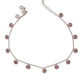 Βραχιόλι ποδιού από ρόζ επιχρυσωμένο ασήμι με πολλαπλά στοιχεία