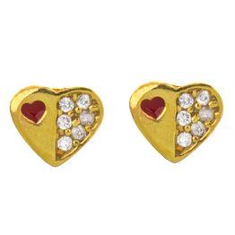 Παιδικό ζευγάρι σκουλαρίκια καρφωτό από επιχρυσωμένο ασήμι 925 με καρδιές και πέτρες ζιργκόν