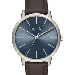 ARMANI EXCHANGE Mens - AX2704, Silver case with Brown Leather Strap
