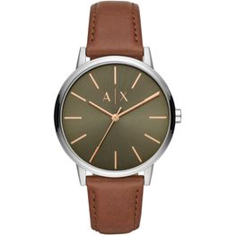 ARMANI EXCHANGE Mens - AX2708, Silver case with Brown Leather Strap
