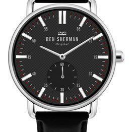 BEN SHERMAN Brighton City - WB033BB Silver case with Black Leather Strap