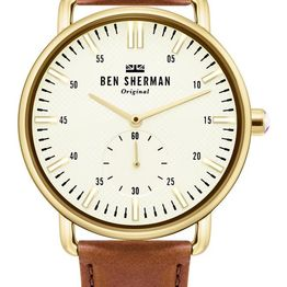 BEN SHERMAN Brighton City - WB033TG Gold case with Brown Leather Strap