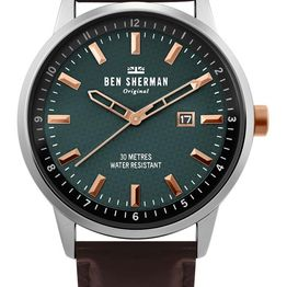 BEN SHERMAN Daltrey Professional - WB030NT Silver case with Brown Leather Strap