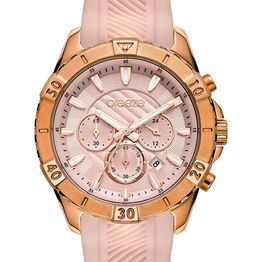 BREEZE Sugarcoat Chronograph - 112231.8 Rose Gold case with Pink Rubber Strap