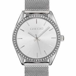 GREGIO Bianca Crystals - GR250010, Silver case with Stainless Steel Bracelet