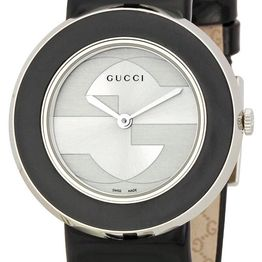 GUCCI U-Play - YA129403 Silver case, with Black Leather stap