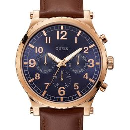GUESS Arrow Men's Multifunction - W1215G1, Rose Gold case with Brown Leather Strap