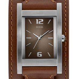 GUESS Men's - W1165G1, Silver case with Brown Leather Strap