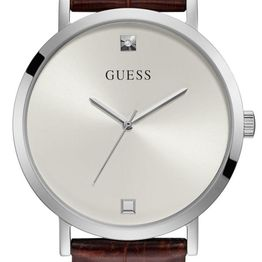 GUESS Men's - GW0009G3, Silver case with Brown Leather Strap