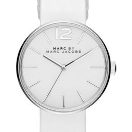 MARC BY MARC JACOBS Peggy - MBM1361, Silver case with White Leather Strap