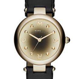 MARC BY MARC JACOBS Dotty - MJ1409, Gold case with Black Leather Strap