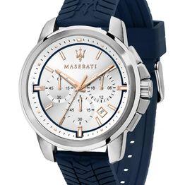 MASERAT Successo Chronograph - R8871621013, Silver case with Blue Rubber Strap