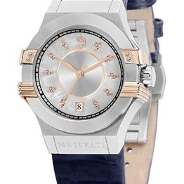 MASERATI Potenza Crystals - R8851108502 Silver case with Blue Leather Strap