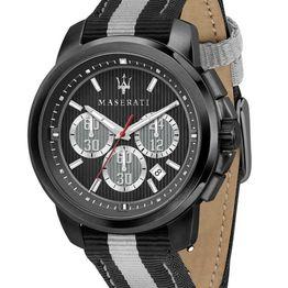 MASERATI Royale Chronograph - R8871637002 Black case with Black Leather & Fabric Strap