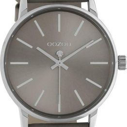 OOZOO Q3 - C10722, Silver case with Grey Leather Strap