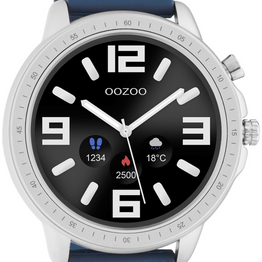OOZOO Smartwatch - Q00315, Silver case with Blue Rubber Strap