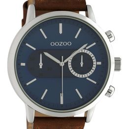 OOZOO Timepieces - C10670, Silver case with Brown Leather Strap