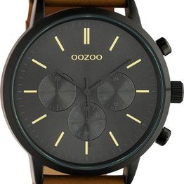 OOZOO Timepieces XL - C10543, Black case with Brown Leather Strap