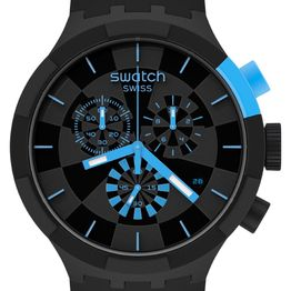 SWATCH Checkpoint Chronograph - SB02B401, Black case with Black Rubber Strap