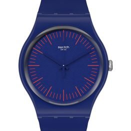 SWATCH Gents BlueNred - SUON146, Blue case with Blue Rubber Strap