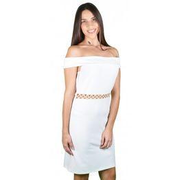 Γυναικείο Φόρεμα Λευκό Midi m-2051