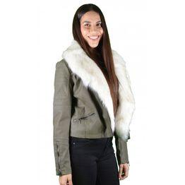 Γυναικείο Δερμάτινο Μπουφάν Λαδί με λευκή γούνα VP079