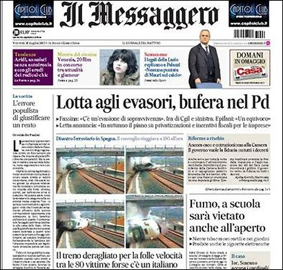 Portada de Il Messaggero