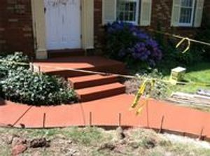 colored concrete porch steps and sidewalk