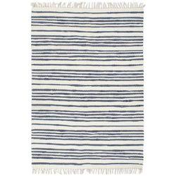 VidaXL algodón Chindi azul y blanco rayas transversal - Alfombras
