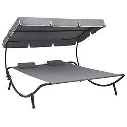 vidaXL Canopy Sun Lounger Steel - Tumbonas