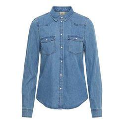 Vero Moda Maria Slim Fit Denim Shirt (10209106) medium blue denim - Blusas