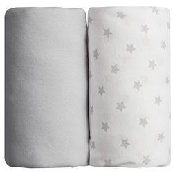 Babycalin Cotton Fitted Baby Sheet 60x120 cm Grey/Stars (x2) - Ropa de cama infantil