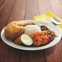 R20 Nasi Lemak with Sambal Prawns + Fried Chicken