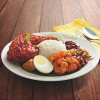 R22 Nasi Lemak with Sambal Prawns + Ayam Masak Merah