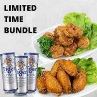 Signature Meat & Seafood Roll (med) & Signature Fried Wings (med) & 3x Tiger Crystal