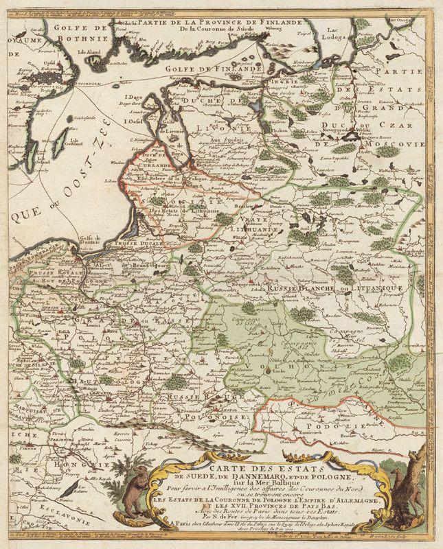 Французька карта 1700 року: Волинь (від Західного Бугу до Чернігова і Дикого Поля) та Поділля (Подністров'я та Південне Побужжя) — разом Україна, Країна Козаків