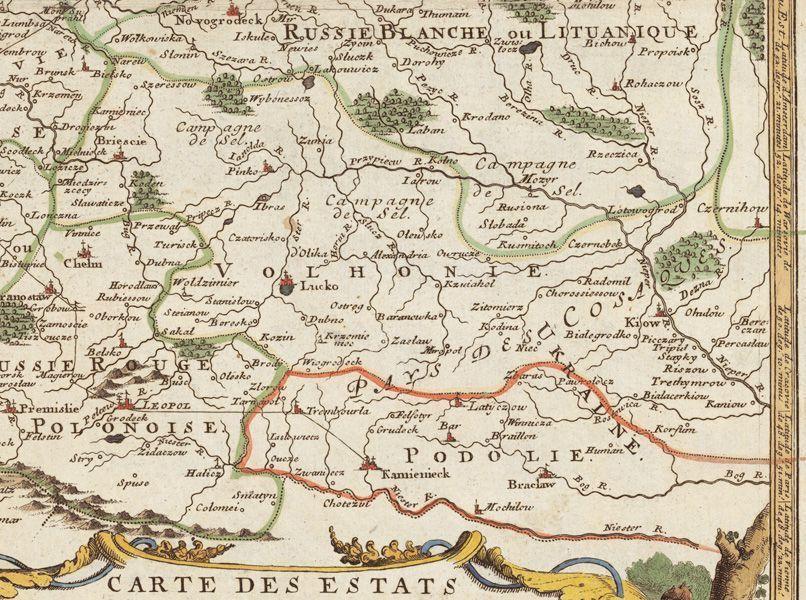 Фрагмент французької карти 1700 року: Волинь (від Західного Бугу до Чернігова і Дикого Поля) та Поділля (Подністров'я і Південне Побужжя) — разом Україна, Країна Козаків
