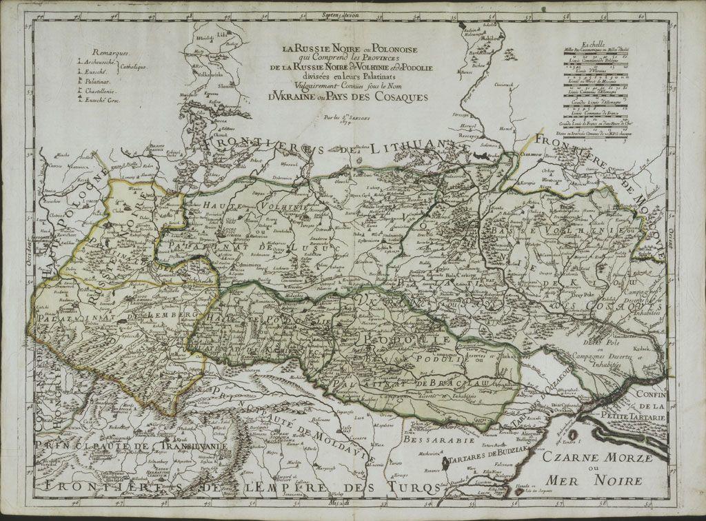Карта України (Волині, Поділля) Гійома Сансона 1674 р.