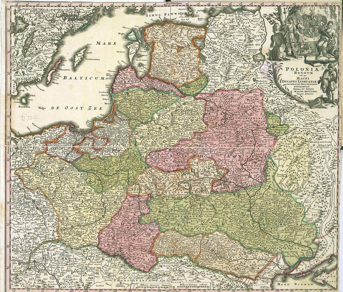 Карта Центрально-Східної Європи середини 17 ст. Гійома Боплана