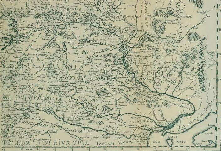 Карта Волині-України групи Сансонів 1641 року