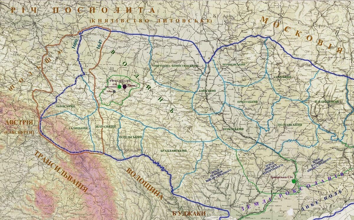 Рахманський устрій України середини 17 ст. (дослідницька карта)