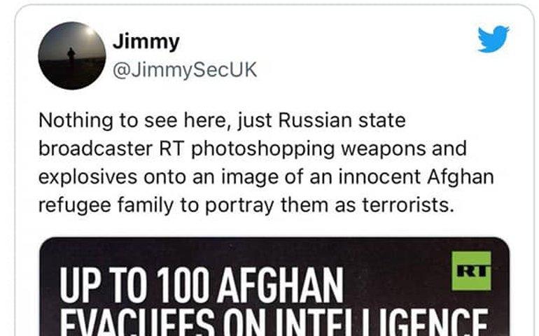 Пропагандистів Russia Today впіймали на фотошопі: домалювали зброю родині афганців