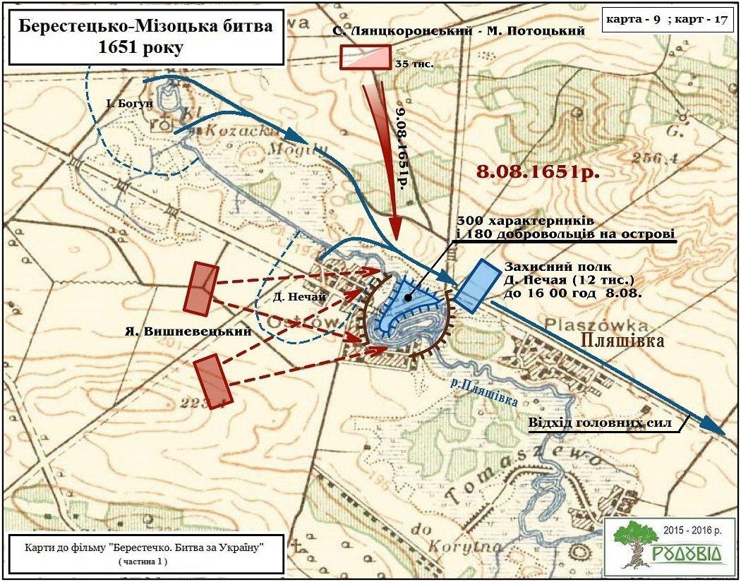 Відхід козацьких військ на Мізоч та створення штучного острова на р. Пляшівка