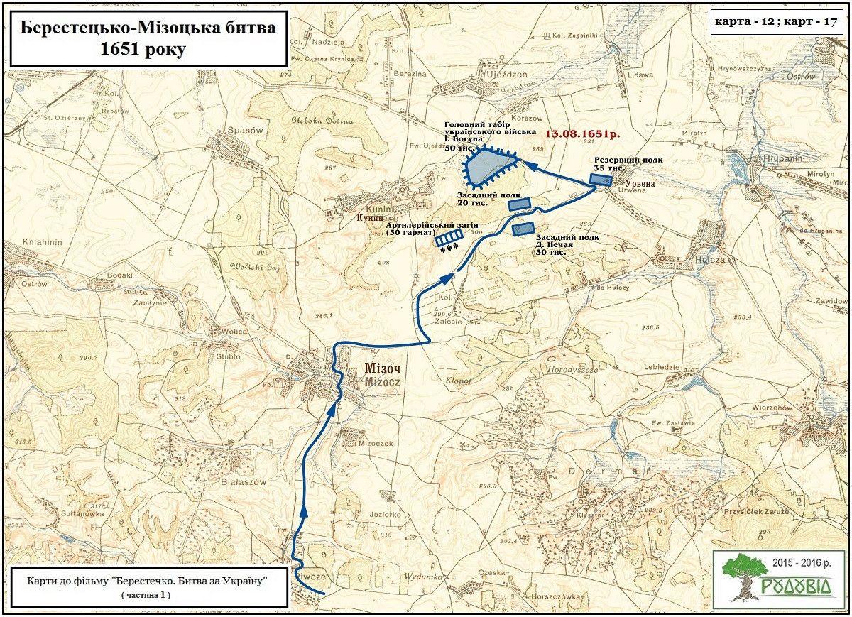 Влаштування табору військ Богуна коло Мізоча, між селами Кунин-Урвенна-Залісся