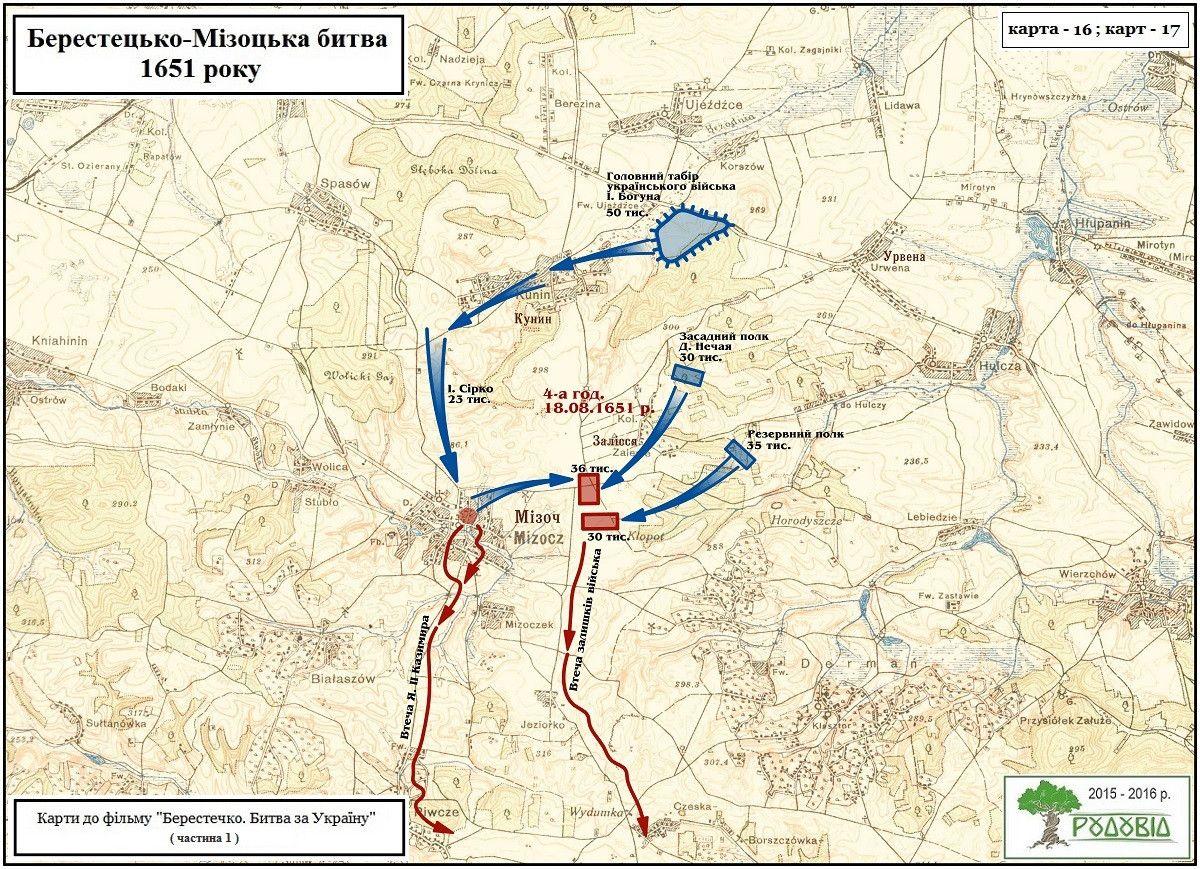 Відхід короля до Мізоча та ранкова атака козаків на його штаб та залишки війська