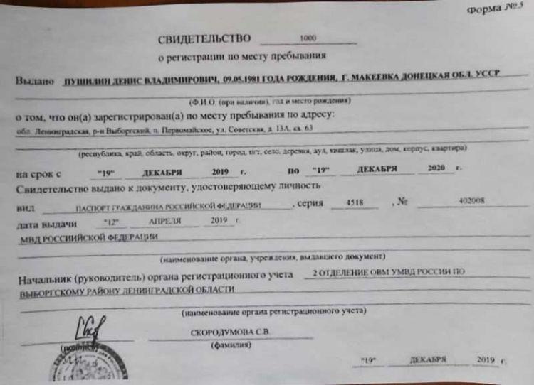 Денис Пушилин регистрация в РФ