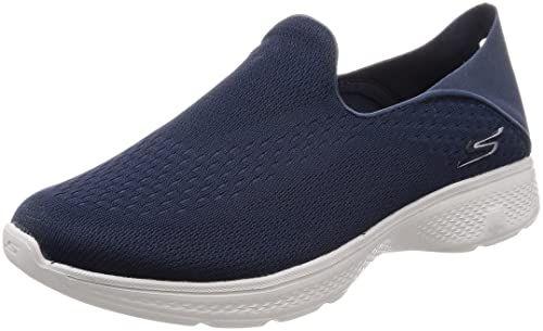 "Buy Skechers Men""s Go Walk 4 Navy and Gray Nordic Walking Shoes-6 UK (7 US)  (54684-NVGY) at Amazon.in"