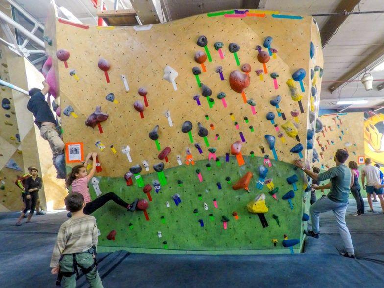 A bouldering wall at Brooklyn Boulders rock climbing gym, Gowanus